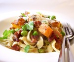 Pumpkin, pancetta and pea pasta
