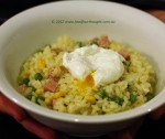 """Green eggs"" & ham risotto"